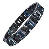 COOLMAN Herren Armband Edelstahl Armbänder für Männer Größe Einstellbar 20-22 cm, Rennlegende-Serie, Blau Schwarz
