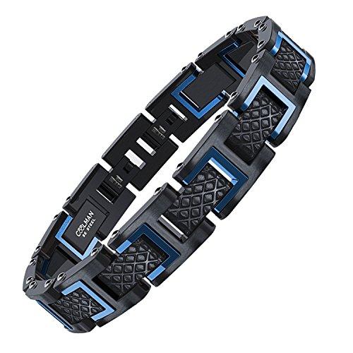 COOLMAN Herren Armband Edelstahl Armbänder für Männer Größe einstellbar 20-22 cm, Rennlegende-Serie, Blau Schwarz -