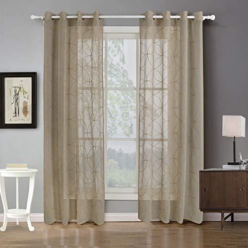 Naturer Transparent Vorhang mit Muster 220x140,Elegant Geometrisch Gardinenschals mit ösen Transparent Stickmuster 2er-Set für Wohnzimmer