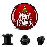 Piercingfaktor Ohr Plug Flesh Tunnel Piercing Schmuck Picture Weihnachts Motiv Merry Christmas 12mm