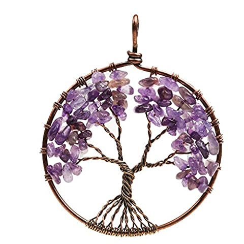 MagiDeal Mothers Day Gift Natural Gemstone Chip Beads Tree of Life Pendant For Necklace - Amethyst