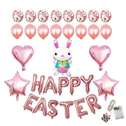 Morbuy Pascua Decoration, Huevos de Pascua Ninos Conejo Pegatinas Mini Juguetes Pollitos Moldes Manualidades de Bricolaje de Pascua Que Pintan para La Decoración y El Regalo (Rosa)