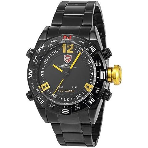 SHARK SH099-Orologio da polso uomo,Acciaio INOX,Digitale LED,Sportivo Quarzo,colore:Nero