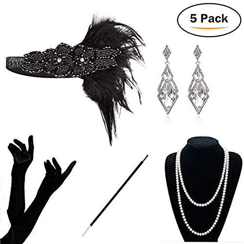 KQueenStar 1920er Jahre Zubehör Set Flapper Kostüm Accessoires für Damen 20s Gatsby Jahre Stirnband Kopfschmuck Perlen Halskette Handschuhe Zigarettenspitze (Black4)