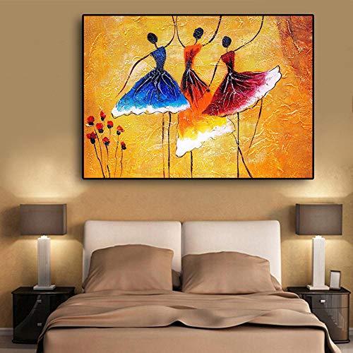 Leinwanddruck Afrikanische Frau Vintage Ballerina Mädchen Blume Ölgemälde Auf Leinwand Poster Und Drucke Wandkunst Bild 50Cmx70Cm - Vintage Ballerina Bilder