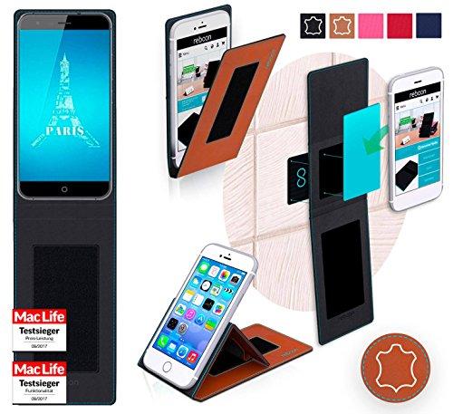 reboon Hülle für Ulefone Paris X Tasche Cover Case Bumper | Braun Leder | Testsieger