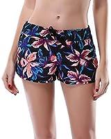 Attraco Womens Floral Swim Shorts Ladies Board Shorts Black