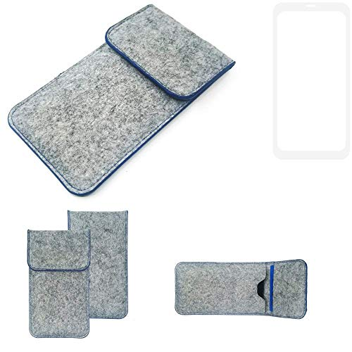 K-S-Trade® Filz Schutz Hülle Für Leagoo KIICA Power Schutzhülle Filztasche Pouch Tasche Case Sleeve Handyhülle Filzhülle Hellgrau, Blauer Rand