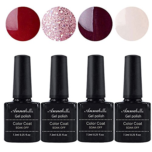Annabelle UV Nagellack Soak Off UV Gel Nagellack Nail Art Top Coat Base Coat (7.3ml/pc Lot de 4) 044