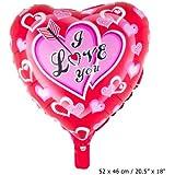 Folienballon rotes Herz 52 cm x 46cm mit der Aufschrift:i love you mit Pfeil (ich Liebe Dich)