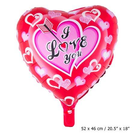 Kostüm Roter Pfeil - kostüm-paradies Folienballon Rotes Herz 52 cm x 46cm mit der Aufschrift:i Love You mit Pfeil (Ich Liebe Dich)