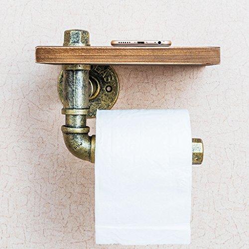 Chi Cheng Fang Electronic business Massivholz Rollenhalter Retro-WC Metall Papier Handtuchhalter Bad Schmiedeeisen Rack Wand hängen Lagerregal (Color : B, Size : 20*15*15cm) (Schmiedeeisen Wc-papier)