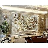 BZDHWWH Neue 3D Relief Chrysanthemum Wandbild Customized Große Wohnzimmer Bildschirm Hintergrund Wandbild 3D Stereo Tapete,312Cm (W) X 219Cm (H)