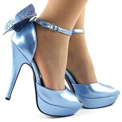 Papillon show histoire Peep Toe Ankle Strap nuptiale sandales pompes à talons aiguilles, LF30453 Bleu
