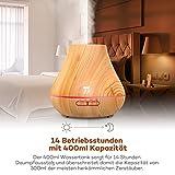 Aroma Diffuser TaoTronics 400ml Duftzerstäuber ätherisches Öl Diffusor Luftbefeuchter für Aromatherapie, einstellbarer Nebelausstoß, 7 Farbstufen, Niedrigwasserschutz -