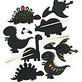 Lot de 10 Décorations Aimantées à gratter - Scratch Art Motif Dinosaure - Loisirs Créatifs Enfants
