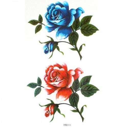 Roses bleues et rouges sexy de faux tatouages étanches