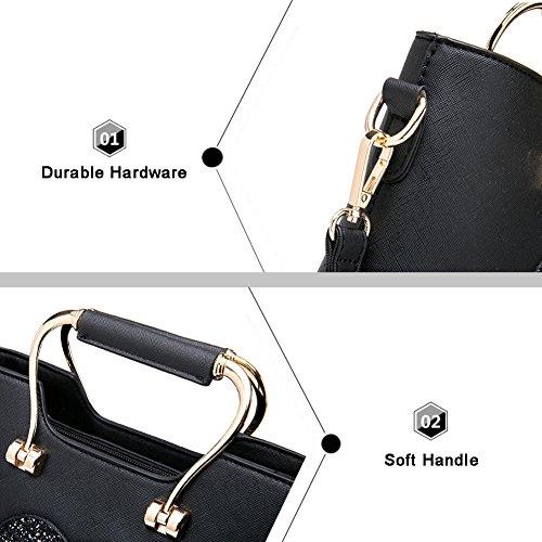 Borse da telaio Yoome per borse donna Tote Borse eleganti in pelle Borse da trucco Borsa casual Borse - Navy Blu scuro