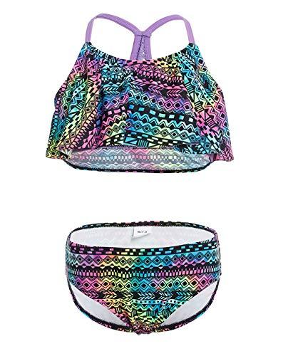 iDrawl Baby Bikini Set Mädchen Tankini Sommer Bademode Top + Slip Violett,XS(für Größe 115-125 cm)