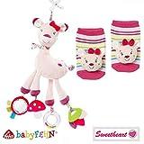 BabyFehn Spar-Set Activity-Rehkitz & Rasselsöckchen // 2er Set // Collection Sweethart // Lebhafte Farben und Materialien //