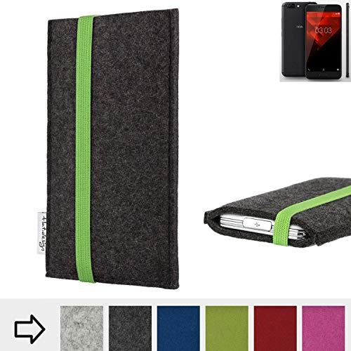 flat.design Handyhülle Coimbra mit Gummiband-Verschluss für NOA H10le - Schutz Case Etui Filz Made in Germany in anthrazit grün - passgenaue Handytasche für NOA H10le