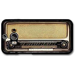 Retro Vintage Radio Illustration in Cool Brown carcasa de HTC One M8