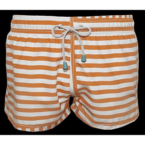 Oiler & Boiler Limited Edition Men's Swim Shorts, Orange Stripes X-Large (Classic Striped-shorts)