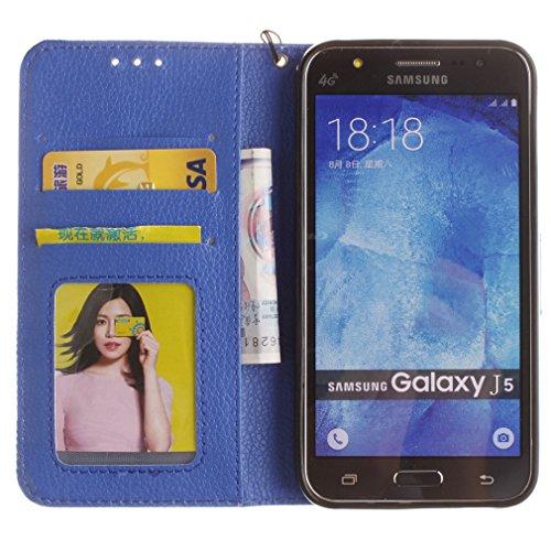 Samsung Mobiltelefon case Magnetisch PU-Leder Geldbörse Flip Wallet Cover in Book Style Stand Case für Samsung Galaxy J7 Prime/on7 Braun Blau