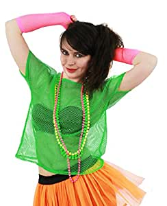 LADIES 80S MESH TOPS FANCY DRESS ACCESSORY 1980'S RAVE TSHIRT FISHNET ROLLER DISCO 80'S CLUBBING IN 5 COLOURS BLACK, NEON PINK, LIME GREEN, ORANGE, YELLOW (LIME GREEN)