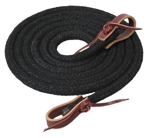 Weaver Leather Silvertip Horseman's Braid Trail Rein, Black, 1/2-Inch x 10-Feet