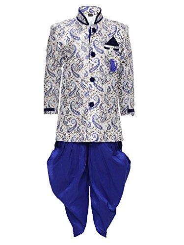 AJ Dezines Boys Dhoti Sherwani Set for Kids (605_BLUE_7)