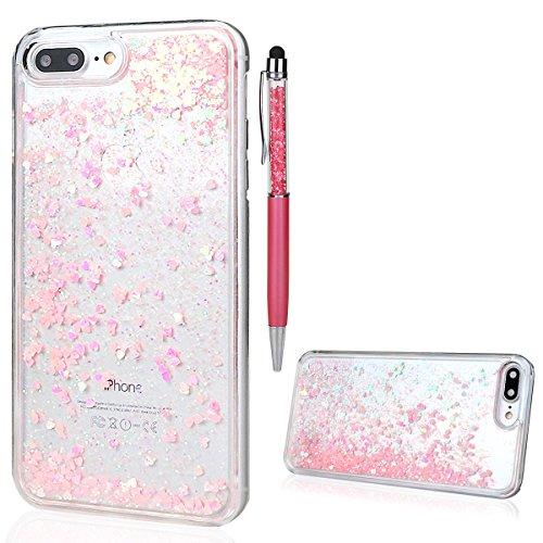 """Hülle für iPhone 7 Plus/8 Plus, xhorizon FM8 Harte Rückseitenabdeckung dynamisches flüssiges Quicksand-Mode mit funkelnden Diamanten-Herzen für iPhone 7 Plus / iPhone 8 Plus [5.5""""] Rosa"""