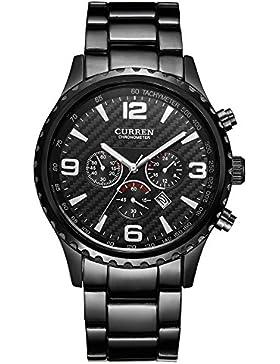 XLORDX Curren Mode Schwarz Herren Quarz Armbanduhr,Schwarz Zifferblatt Analoge Anzeigen mit Datum,Edelstahl Armband