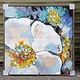 FENGJIAREN 100% Reines Handgemaltes Ölgemälde Moderne Blumenkunstmalerei Extra Große Lobby Zu Hause Lobby Büro Hotel Gemälde, 60 × 60 cm
