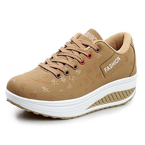 QZBAOSHU Damen Sneaker Schuhe Sportschuhe Mädchen PE-Turnschuhe Frauen Fitness-Shake Schuhe (EUR38 (Passen für EU37), Khaki)