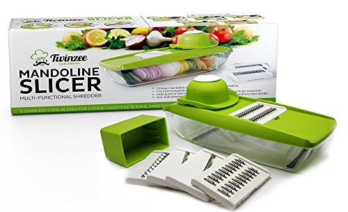Kretix Mandoline Vegetable Slicer, Food Slicer and Fruit Cutter - with 5 Interchangeable Sharp Blades, Safety Hand Guard, Butting Board, Blades Box and Easy Food Container