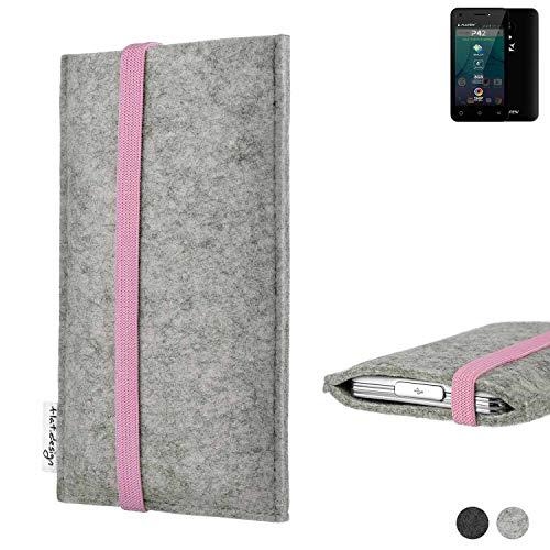 flat.design Handy Hülle Coimbra für Allview P42 handgefertigte Handytasche Filz Tasche Case rosa hellgrau