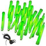 25 Power-Knicklichter grün mit Haken und Band, sehr robust und lange leuchtend | stabiles und dickes Outdoor-Knicklicht