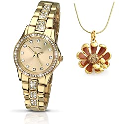 Sekonda Starfall Champagne Dial Gold Plated Bracelet Ladies Watch 2020 + Pendant Gift