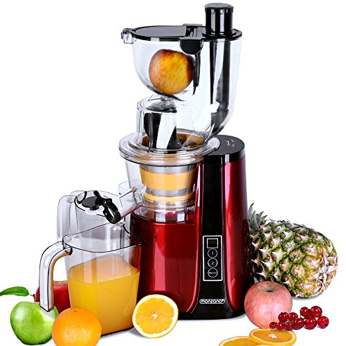 Monzana Slow Juicer PRO-Vitamin Masticating Whole Fruit & Vegetable Extractor Cold Press 500 Watt 81mm Big Mouth Juicers Reverse Function High Nutrient Juicers