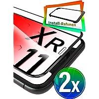 """UTECTION 2X Full Screen Schutzglas 3D für iPhone XR & iPhone 11 (6.1"""") - Perfekte Anbringung Dank Rahmen - Premium Displayschutz 9H Glas - Kompletter Schutz Vorne - Folie Schutzfolie Schwarz Clear"""