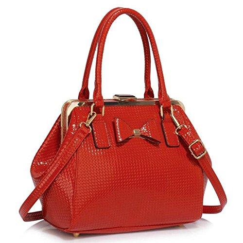 LeahWard® Kunstleder Bogen Charme Handtaschen Tote Schultertaschen Handtasche Zum Damen258A CWS00258B-Red