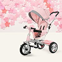 QXMEI 4 In 1 Tricycle 12 Months To 6 Years 360° Swivelling Saddle Strong Frame Childrens Tricycles Detachable And Adjustable Push Handle Folding Sun Canopy Kids Tricycle Maximum Weight 25 Kg