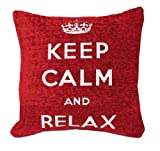 Just Contempo Keep Calm Cushion Cover, Red, 18x18 inches