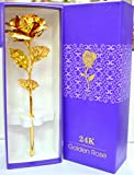 #10: Rks Global Golden Rose Flower 24 K Special Gift For Valentines,Love Ones, Rose Day, Birthday With Gift Box And Carry Bag