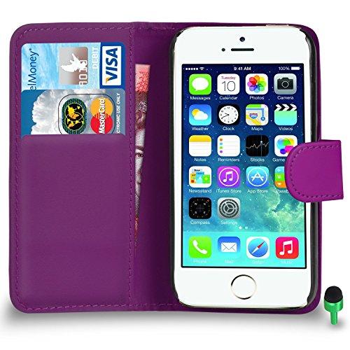 POUR Apple iPhone 5 / 5S - SHUKAN® Prime Cuir NOIR Portefeuille Cas Coque Couverture VERT Cap VIOLET