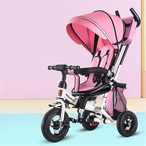 WYD Kleinkind Kind Dreirad Fahrrad Falten 1-3-5 Jahre Alt Drehsitz Kinderwagen 3 in 1 DREI Räder Kinderwagen Fahrrad,Pink (Falten Kleinkind Fahrrad)