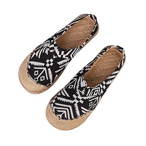 Unisex zuecos Couples sandalias Mules lino transpirable chanclas punta cerrada Confort Zapatillas Pantuflas Casa Oficina Estilo chino Slipper zapatos verano para interior exterior marca jardín cocina
