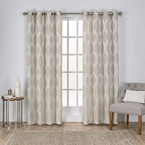 Exklusive Home Montrose Ogee Fenster-Vorhang, Store-Paar aus geometrisch Strukturiertem Leinen, Jacquard, mit Ösen, Polyester, leinen, 54x96 (Leinen Vorhänge 96)