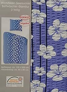 2 Tlg, Microfaser Seersucker Bettwäsche 135x200cm + 80x80cm BÜGELFREI Home-Impression (213 Blau Blumen)